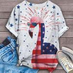 US Flag Flamingos Firework t shirt hoodie sweater