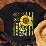 US Flag Sunflower May Girl t shirt hoodie sweater