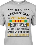 im a grumpy old vietnam veteran my level of sarcasm depends on your level of stupidity t shirt hoodie sweater
