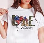 Love my veteran american flag heart camouflage pattern t shirt hoodie sweater