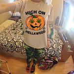 High on hellaweed we ed pumkin halloween vibe for stoner t shirt hoodie sweater