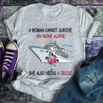 a woman cannot survive on wine alone she also needs a cruise funny flamingo ship t shirt hoodie sweater