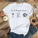 I'm a simple woman wine dentist dog paw for lovers t shirt hoodie sweater