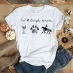 I'm a simple woman wine dog paw horse riding lovers t shirt hoodie sweater