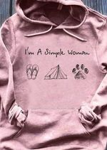I'm a simple woman flip flops tent paw dog t shirt hoodie sweater