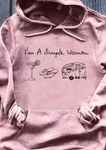 I'm a simple woman i like cocktail flip flop camper t shirt hoodie sweater