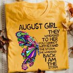 August girl they whispered to her you cannot withstand the storm floral butterfly t shirt hoodie sweater