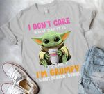 yoda i dont care what day it is its early im grumpy i want dunkin donuts t shirt hoodie sweater