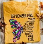 September girl they whispered to her you cannot withstand the storm butterfly t shirt hoodie sweater