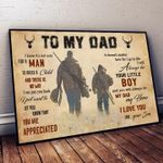 To my dad not easy for a man to raise a child you are appreciated my dad my hero love you your son family poster canvas