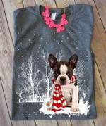French bulldog wearing red scarf in the snow christmas gift for dog lover t shirt hoodie sweater