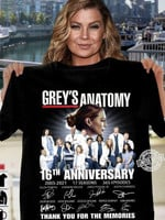 Grey's anatomy 16th anniversary 2005 2021 17 seasons signature for fan thanks for the memories t shirt hoodie sweater