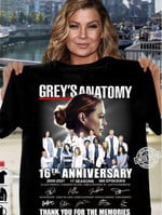 Grey's anatomy 16th anniversary thank you for the memories 365 episodes signature for fan t shirt hoodie sweater