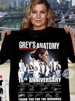 Grey's anatomy anniversary 2005 2021 signature for fan thank you for the memories gift t shirt hoodie sweater