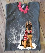 German shepherd in the snow wearing red scarf christmas gift for dog lover t shirt hoodie sweater