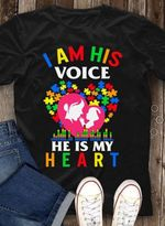 Autism prevention i am his voice he is my heart mom baby family t shirt hoodie sweater