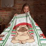 Blanket Santa Pug Makes Yoga Christmas Pattern Super Soft Warm Cozy Blanket Fleece Blanket
