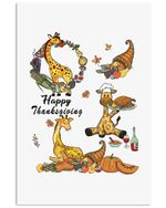 Giraffe Happy Thanksgiving Gift Vertical Poster
