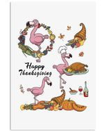 Flamingo Happy Thanksgiving Vertical Poster