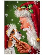 Cavalier King Charles Spaniel Dog Smile With Santa Christmas Gift Vertical Poster