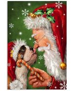 Bulldog Smile With Santa Claus Christmas Vertical Poster