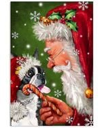 Boston Terrier Puppy Smile With Santa Claus Christmas Gift Vertical Poster