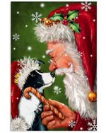 Border Collie Puppy Smile With Santa Claus Christmas Vertical Poster