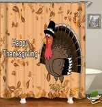 thanksgiving day shower curtains fabric funny beige polyester cloth print bathroom curtains