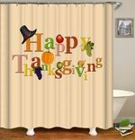 thanksgiving day shower curtains fabric simplicity beige polyester cloth print bathroom curtains