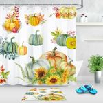 3D Printed Shower Curtain  Set Thanksgiving Watercolor Pumpkin And Sunflowers