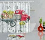 Thanksgiving Farm Red Truck Sunflowers Fabric 3D Printed Shower Curtain Set