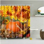 Autumn Leaves Happy Thanksgiving Day Pumpkin Sunflowers Shower Curtain Set
