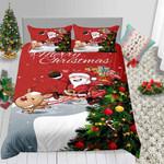 Christmas Cartoon Santa Tree Over Printed Bedding Set Bedroom Decor