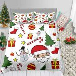 Cartoon Santa Cute Christmas Collection Printed Bedding Set Bedroom Decor