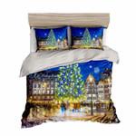 Bokeh Tree Christmas Santa Claus Printed Bedding Set Bedroom Decor