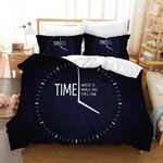 3d Blue Time Clock Bedding Set Bedroom Decor