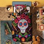 Coco Skull With Eyes Flowers Bedding Set Bedroom Decor