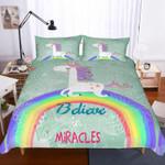 Apjjq Unicorn Believe In Miracles Bedding Set Bedroom Decor