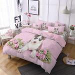 Pink Flower And Husky 3D Bedding Set Bedroom Decor