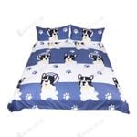 Bow Tie Bull Dog Blue And White Bedding Set Bedroom Decor