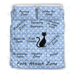 Cat's Map Of The Bed Cat Foot Attack Zone Bedding Set Bedroom Decor