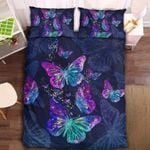 Purple Mexican Bluewing Butterfly Printed Bedding Set Bedroom Decor