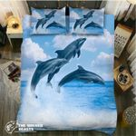 Four Dolphins Jumping Printed Bedding Set Bedroom Decor