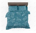 Paper Airplane And Fly Designed Bedding Set Bedroom Decor