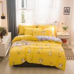 Yellow Fabric Satin 3D Bedding Set Bedroom Decor