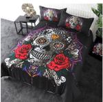 3d Print Skull With Roses Bedding Set Bedroom Decor