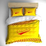 Monogrammed Stitched Softball Theme Bedding Set Bedroom Decor