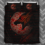 Viking Wolf Black And Red Bedding Set Bedroom Decor