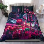 Real Neon City Design 3D Bedding Set Bedroom Decor