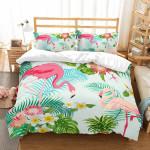3d Flamingo And Tropical Leaf Bedding Set Bedroom Decor